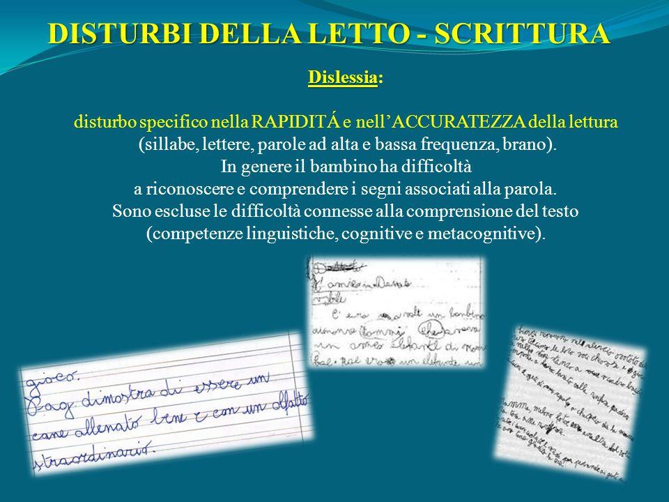 Dislessia Dislessia: disturbo specifico nella RAPIDITÁ e nellACCURATEZZA della lettura (sillabe, lettere, parole ad alta e bassa frequenza, brano). In