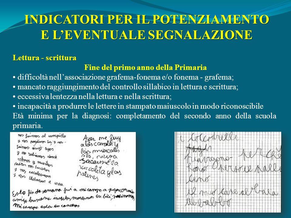 Lettura - scrittura Fine del primo anno della Primaria difficoltà nellassociazione grafema-fonema e/o fonema - grafema; mancato raggiungimento del con