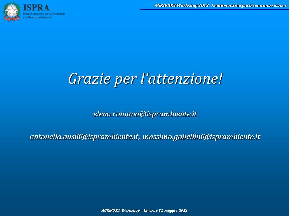 AGRIPORT Workshop - Livorno 31 maggio 2012 AGRIPORT Workshop 2012 - I sedimenti dei porti sono una risorsa Grazie per lattenzione! elena.romano@ispram