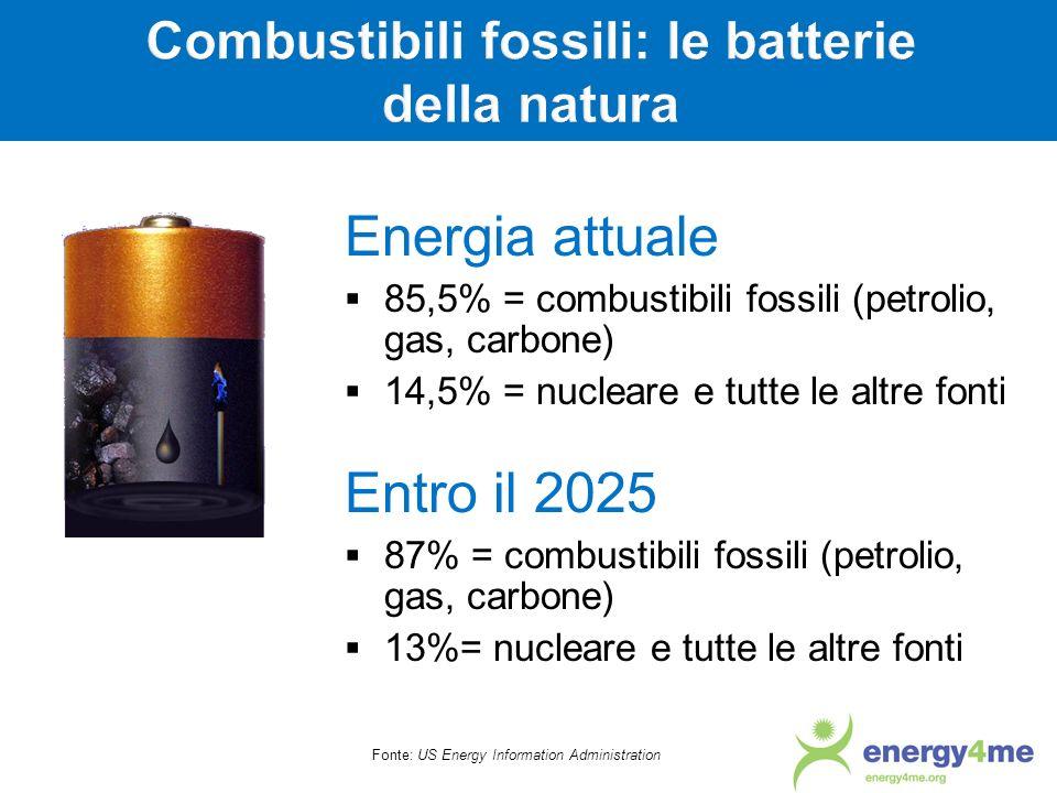 Fonte: US Energy Information Administration Energia attuale 85,5% = combustibili fossili (petrolio, gas, carbone) 14,5% = nucleare e tutte le altre fo