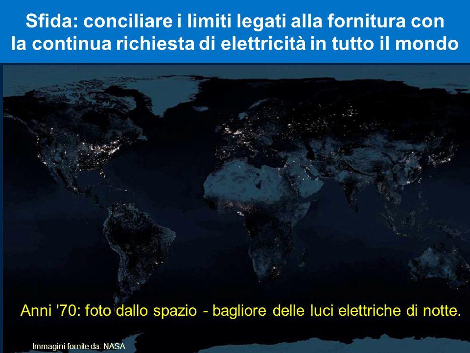 Sfida: conciliare i limiti legati alla fornitura con la continua richiesta di elettricità in tutto il mondo Immagini fornite da: NASA Anni '70: foto d