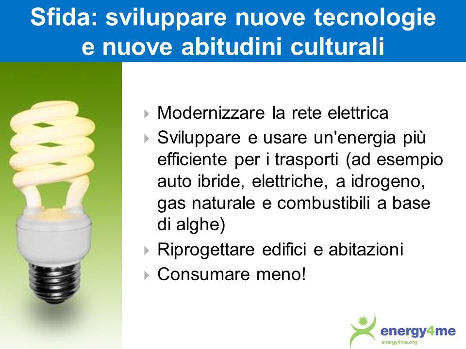 Sfida: sviluppare nuove tecnologie e nuove abitudini culturali Modernizzare la rete elettrica Sviluppare e usare un'energia più efficiente per i trasp