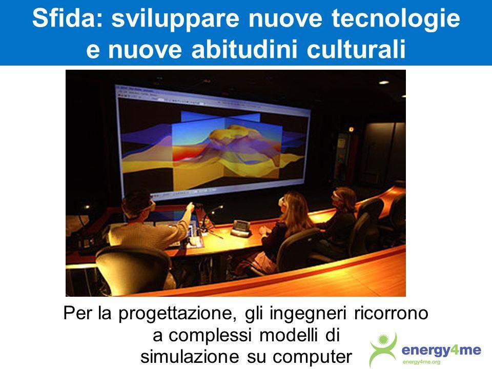 Sfida: sviluppare nuove tecnologie e nuove abitudini culturali Per la progettazione, gli ingegneri ricorrono a complessi modelli di simulazione su com