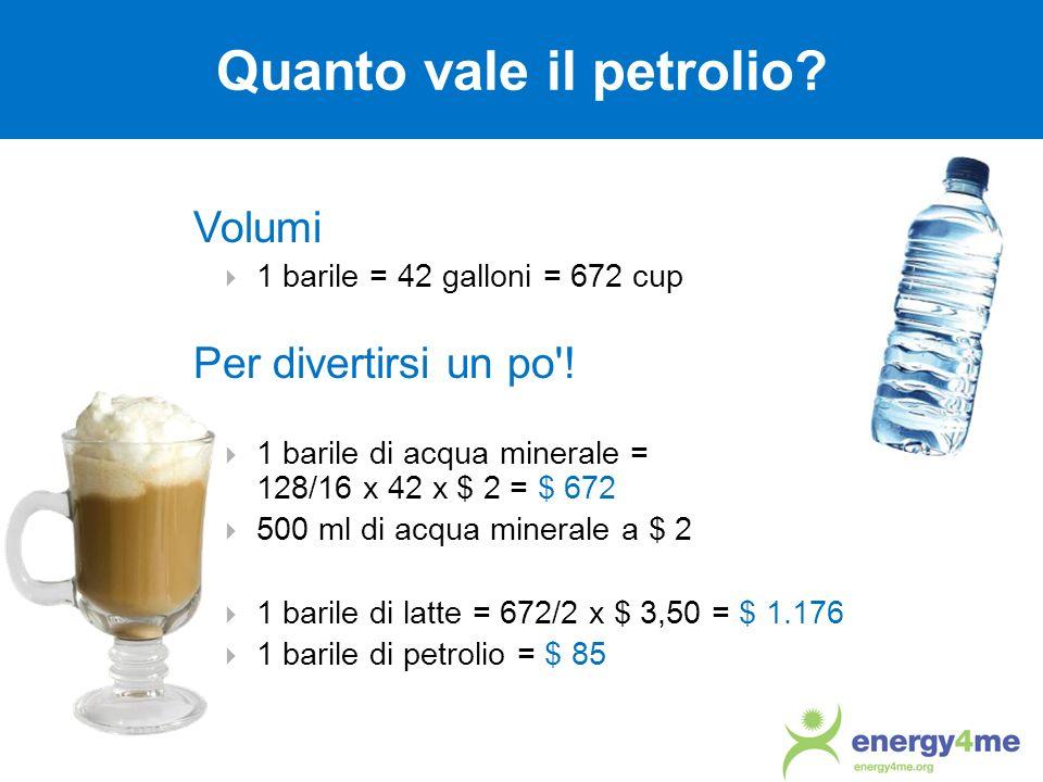 Volumi 1 barile = 42 galloni = 672 cup Per divertirsi un po'! 1 barile di acqua minerale = 128/16 x 42 x $ 2 = $ 672 500 ml di acqua minerale a $ 2 1
