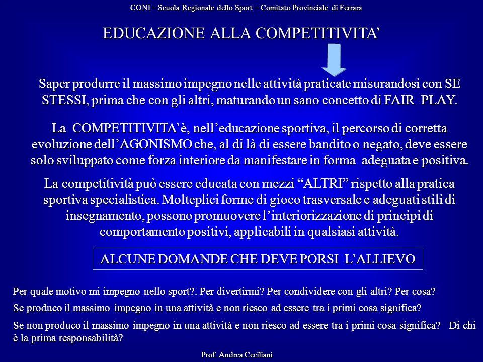 EDUCAZIONE ALLA COMPETITIVITA Saper produrre il massimo impegno nelle attività praticate misurandosi con SE STESSI, prima che con gli altri, maturando