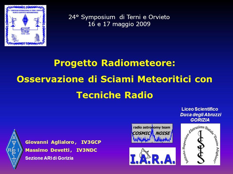 24° Symposium di Terni e Orvieto 16 e 17 maggio 2009 Progetto Radiometeore: Osservazione di Sciami Meteoritici con Tecniche Radio Liceo Scientifico Du
