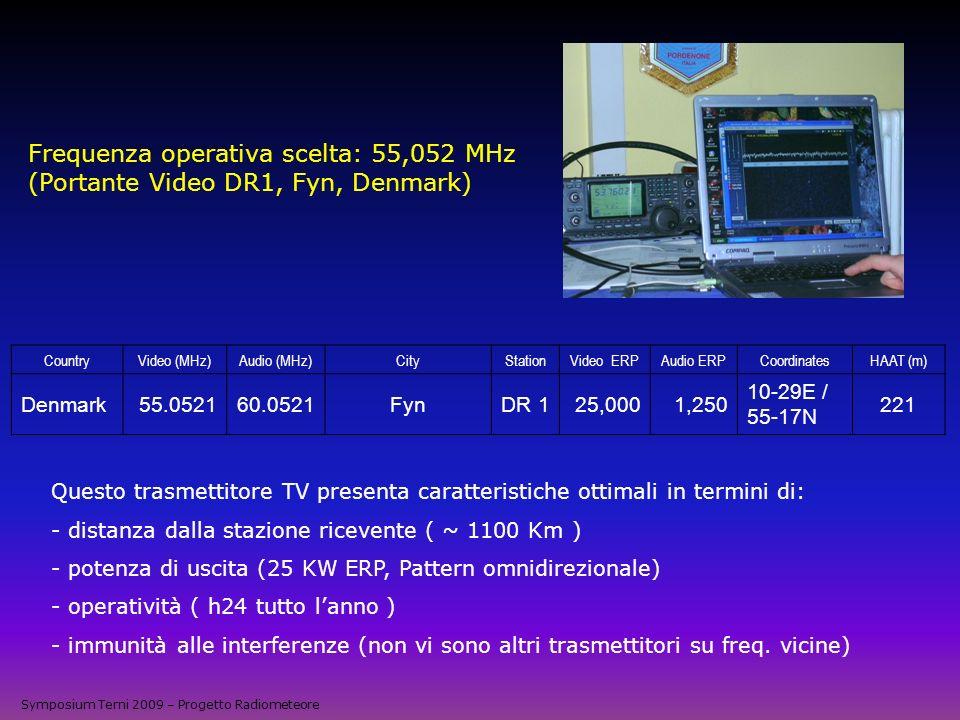 Frequenza operativa scelta: 55,052 MHz (Portante Video DR1, Fyn, Denmark) Questo trasmettitore TV presenta caratteristiche ottimali in termini di: - d