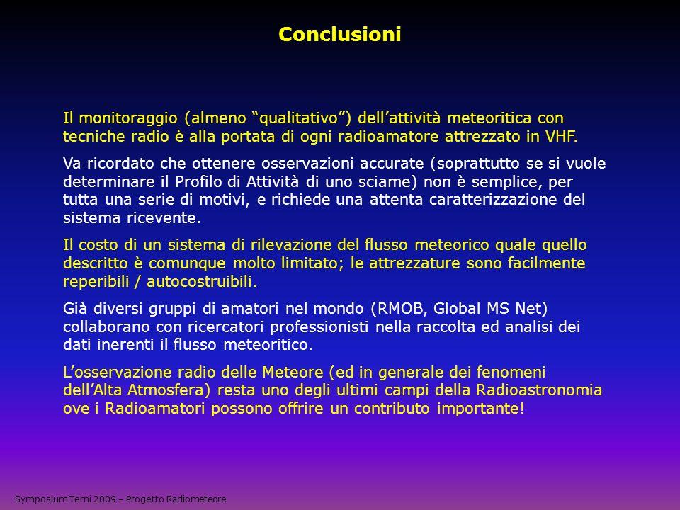 Conclusioni Il monitoraggio (almeno qualitativo) dellattività meteoritica con tecniche radio è alla portata di ogni radioamatore attrezzato in VHF. Va