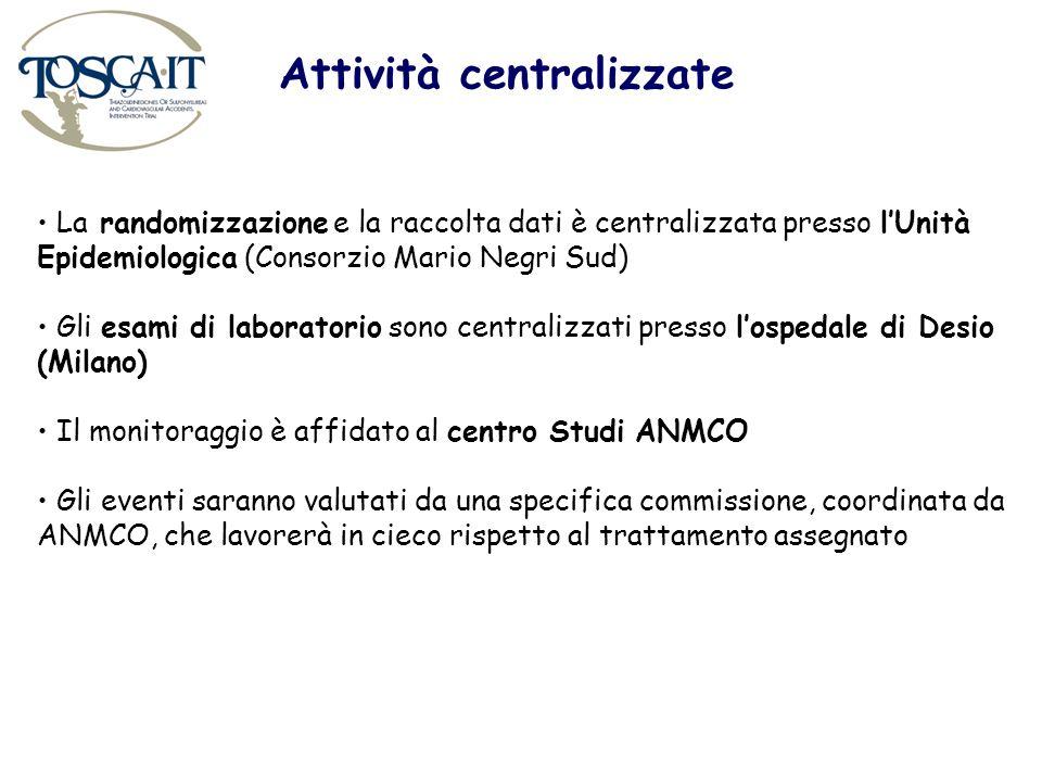 Attività centralizzate La randomizzazione e la raccolta dati è centralizzata presso lUnità Epidemiologica (Consorzio Mario Negri Sud) Gli esami di lab