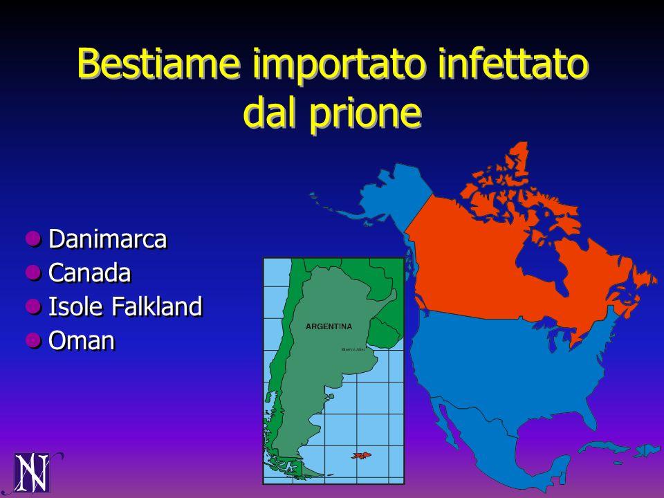 Bestiame importato infettato dal prione Danimarca Canada Isole Falkland Oman Danimarca Canada Isole Falkland Oman