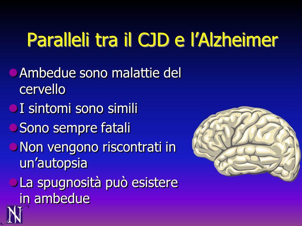 Paralleli tra il CJD e lAlzheimer Ambedue sono malattie del cervello I sintomi sono simili Sono sempre fatali Non vengono riscontrati in unautopsia La