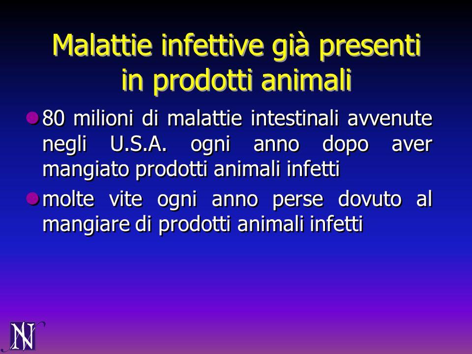 Malattie infettive già presenti in prodotti animali 80 milioni di malattie intestinali avvenute negli U.S.A. ogni anno dopo aver mangiato prodotti ani
