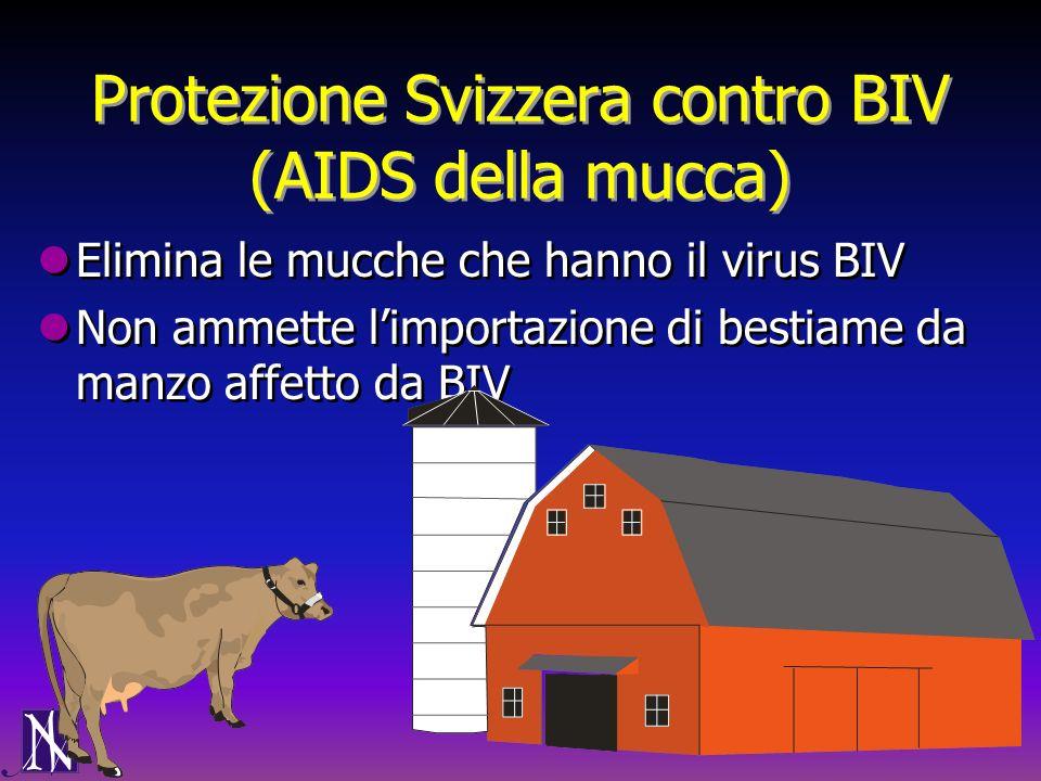 Protezione Svizzera contro BIV (AIDS della mucca) Elimina le mucche che hanno il virus BIV Non ammette limportazione di bestiame da manzo affetto da B