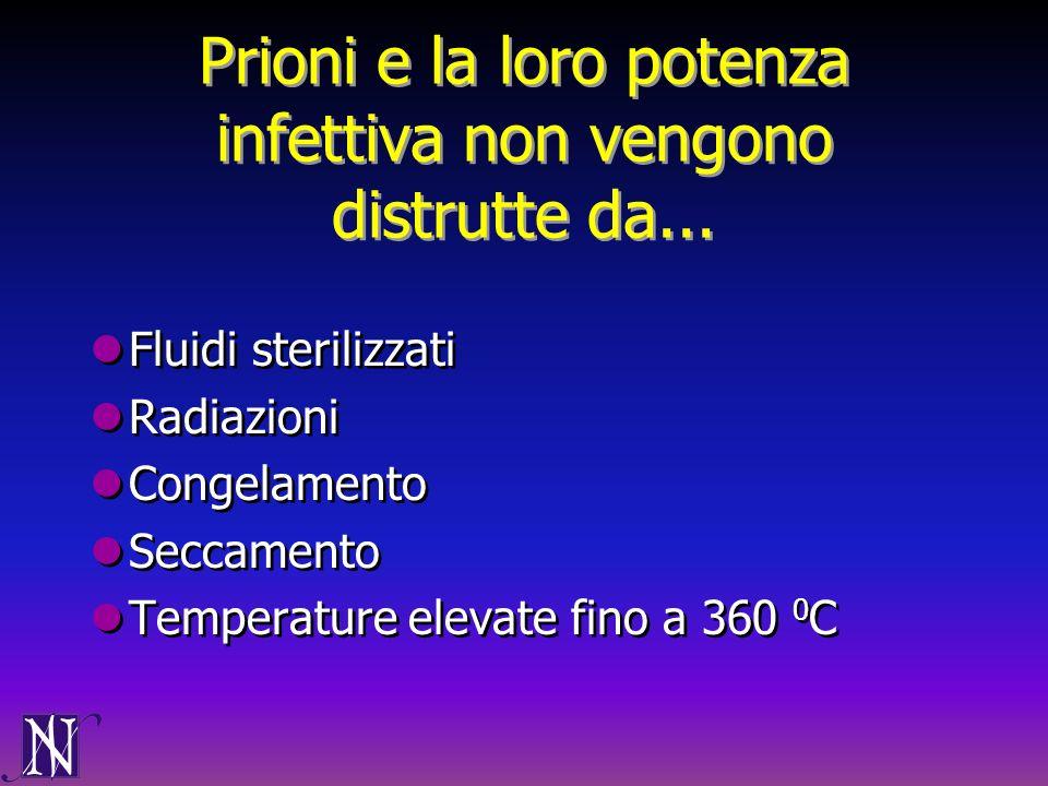 Prioni e la loro potenza infettiva non vengono distrutte da... Fluidi sterilizzati Radiazioni Congelamento Seccamento Temperature elevate fino a 360 0