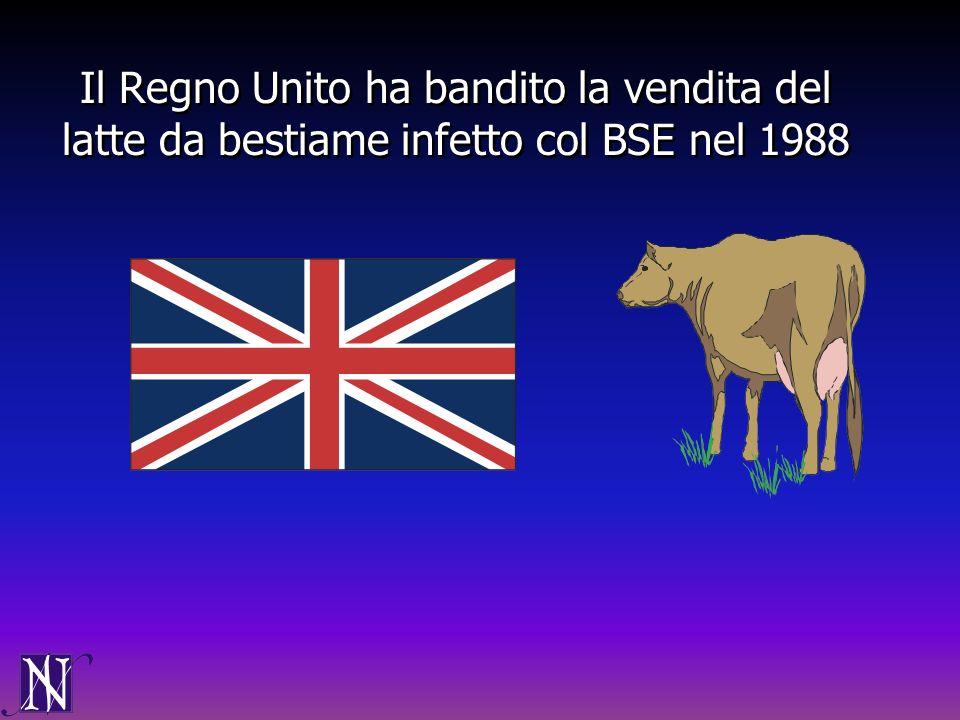 Il Regno Unito ha bandito la vendita del latte da bestiame infetto col BSE nel 1988