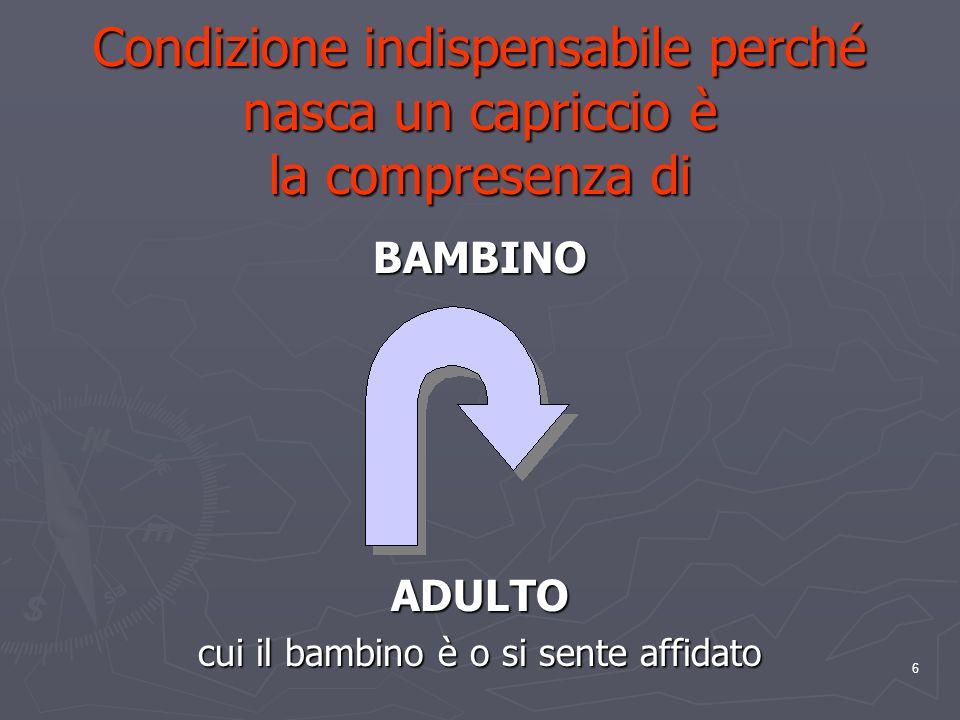 6 Condizione indispensabile perché nasca un capriccio è la compresenza di BAMBINOADULTO cui il bambino è o si sente affidato