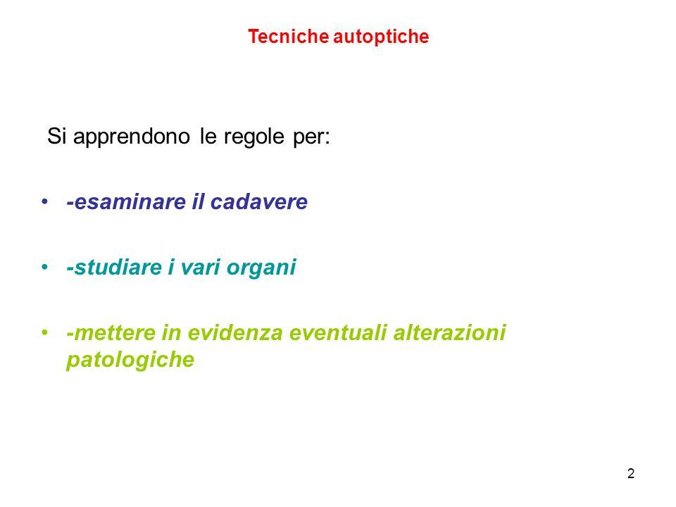 3 Tecniche autoptiche SALA AUTOPTICA STRUMENTI PERSONALE