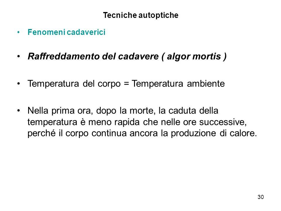 30 Tecniche autoptiche Fenomeni cadaverici Raffreddamento del cadavere ( algor mortis ) Temperatura del corpo = Temperatura ambiente Nella prima ora,