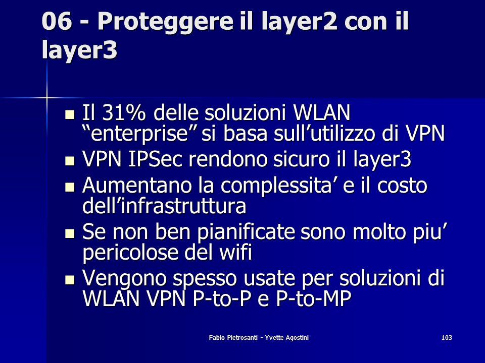 Fabio Pietrosanti - Yvette Agostini103 06 - Proteggere il layer2 con il layer3 Il 31% delle soluzioni WLAN enterprise si basa sullutilizzo di VPN Il 3