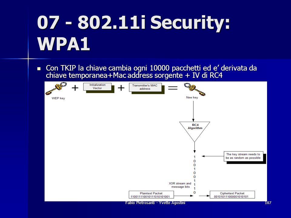 Fabio Pietrosanti - Yvette Agostini107 07 - 802.11i Security: WPA1 Con TKIP la chiave cambia ogni 10000 pacchetti ed e derivata da chiave temporanea+M