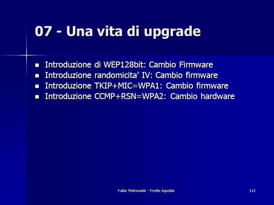 Fabio Pietrosanti - Yvette Agostini112 Introduzione di WEP128bit: Cambio Firmware Introduzione di WEP128bit: Cambio Firmware Introduzione randomicita