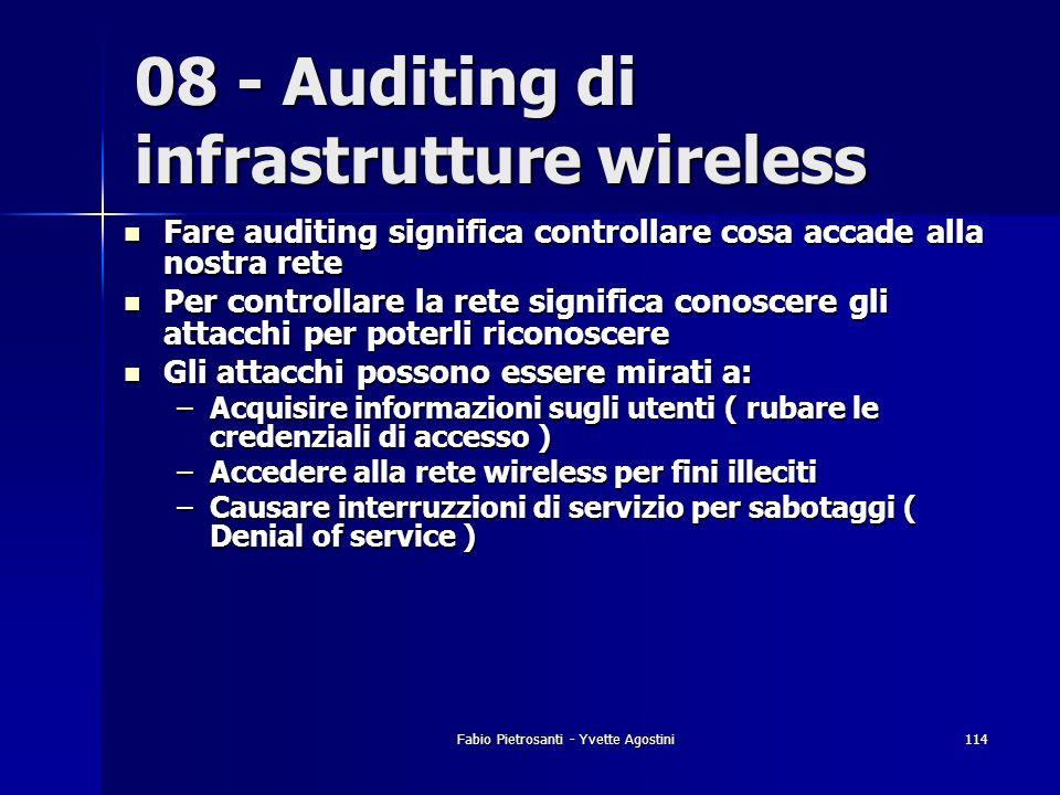 Fabio Pietrosanti - Yvette Agostini114 Fare auditing significa controllare cosa accade alla nostra rete Fare auditing significa controllare cosa accad