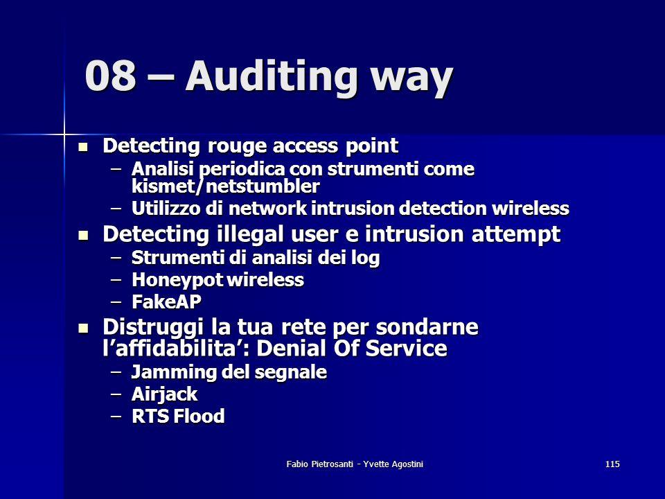 Fabio Pietrosanti - Yvette Agostini115 Detecting rouge access point Detecting rouge access point –Analisi periodica con strumenti come kismet/netstumb