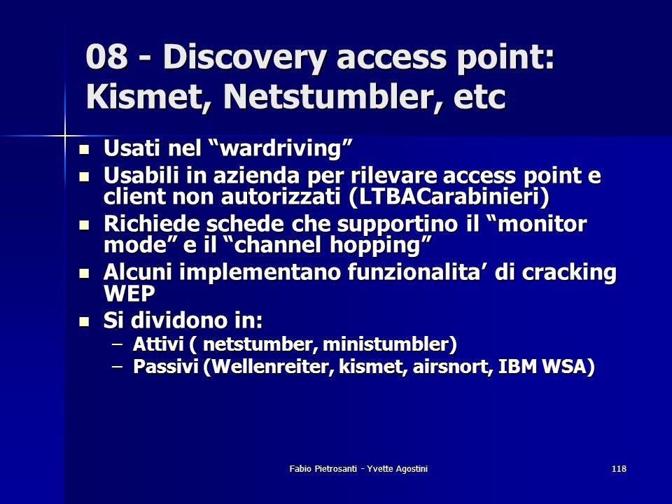 Fabio Pietrosanti - Yvette Agostini118 Usati nel wardriving Usati nel wardriving Usabili in azienda per rilevare access point e client non autorizzati