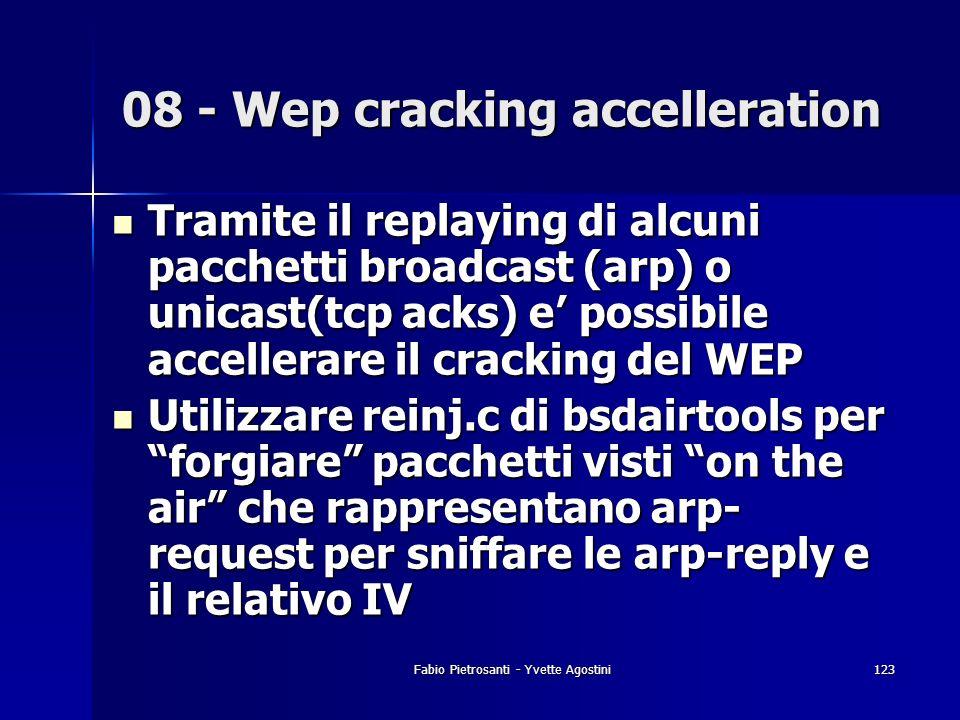 Fabio Pietrosanti - Yvette Agostini123 Tramite il replaying di alcuni pacchetti broadcast (arp) o unicast(tcp acks) e possibile accellerare il crackin