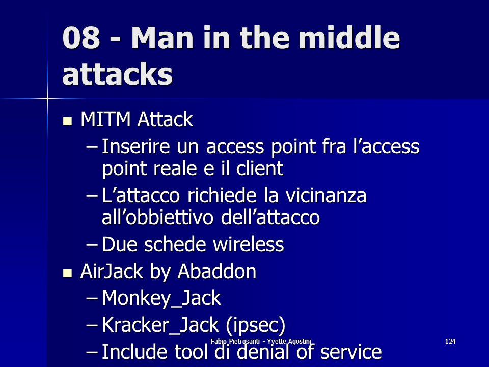 Fabio Pietrosanti - Yvette Agostini124 08 - Man in the middle attacks MITM Attack MITM Attack –Inserire un access point fra laccess point reale e il c