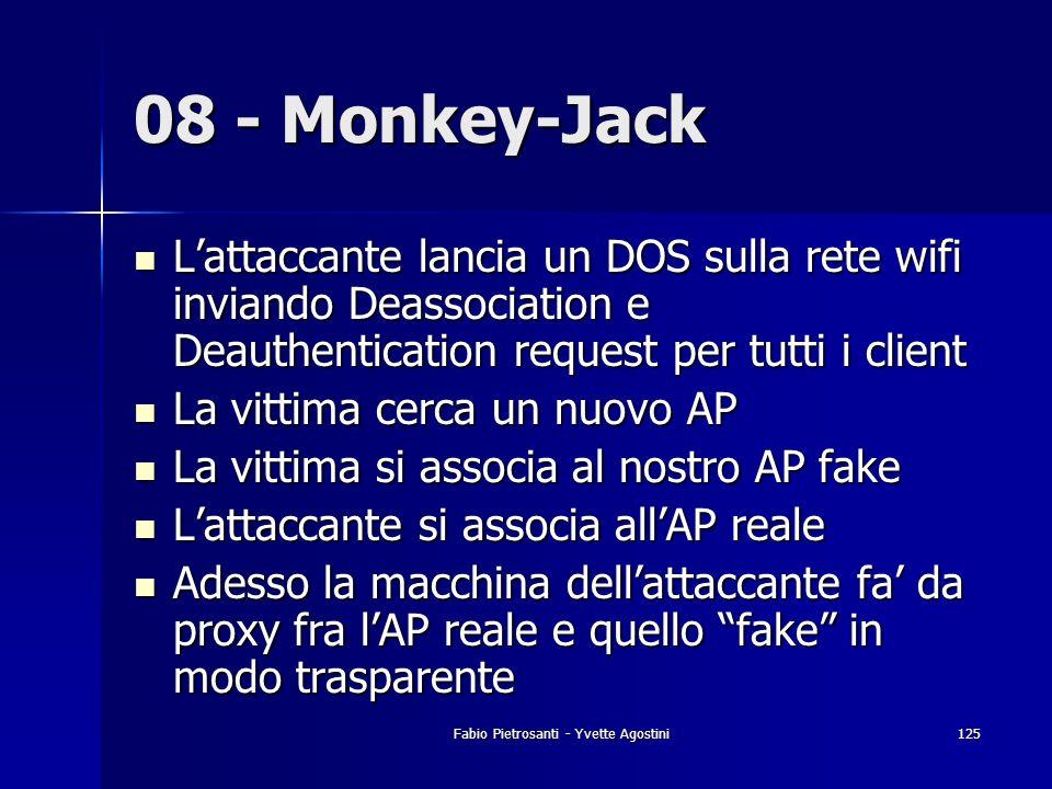 Fabio Pietrosanti - Yvette Agostini125 08 - Monkey-Jack Lattaccante lancia un DOS sulla rete wifi inviando Deassociation e Deauthentication request pe