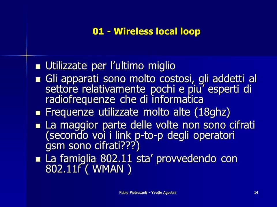 Fabio Pietrosanti - Yvette Agostini14 01 - Wireless local loop Utilizzate per lultimo miglio Utilizzate per lultimo miglio Gli apparati sono molto cos