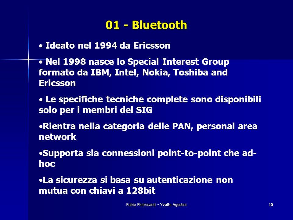 Fabio Pietrosanti - Yvette Agostini15 01 - Bluetooth Ideato nel 1994 da Ericsson Nel 1998 nasce lo Special Interest Group formato da IBM, Intel, Nokia