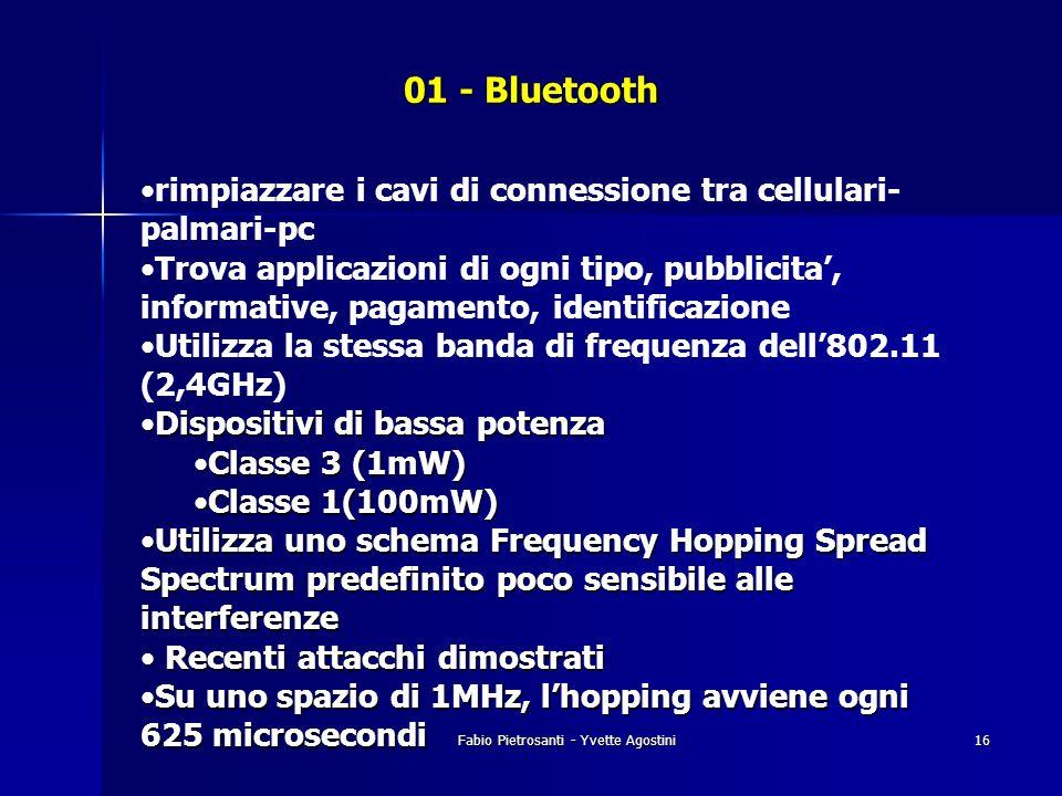 Fabio Pietrosanti - Yvette Agostini16 01 - Bluetooth rimpiazzare i cavi di connessione tra cellulari- palmari-pc Trova applicazioni di ogni tipo, pubb