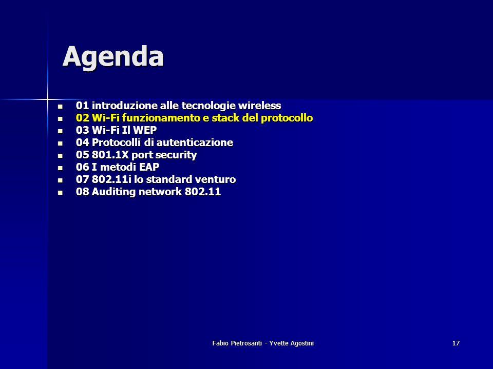 Fabio Pietrosanti - Yvette Agostini17 01 introduzione alle tecnologie wireless 01 introduzione alle tecnologie wireless 02 Wi-Fi funzionamento e stack