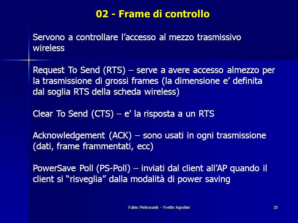 Fabio Pietrosanti - Yvette Agostini25 02 - Frame di controllo Servono a controllare laccesso al mezzo trasmissivo wireless Request To Send (RTS) – ser