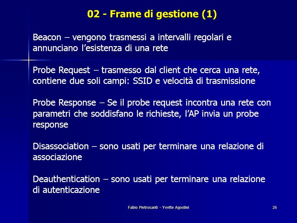 Fabio Pietrosanti - Yvette Agostini26 02 - Frame di gestione (1) Beacon – vengono trasmessi a intervalli regolari e annunciano lesistenza di una rete