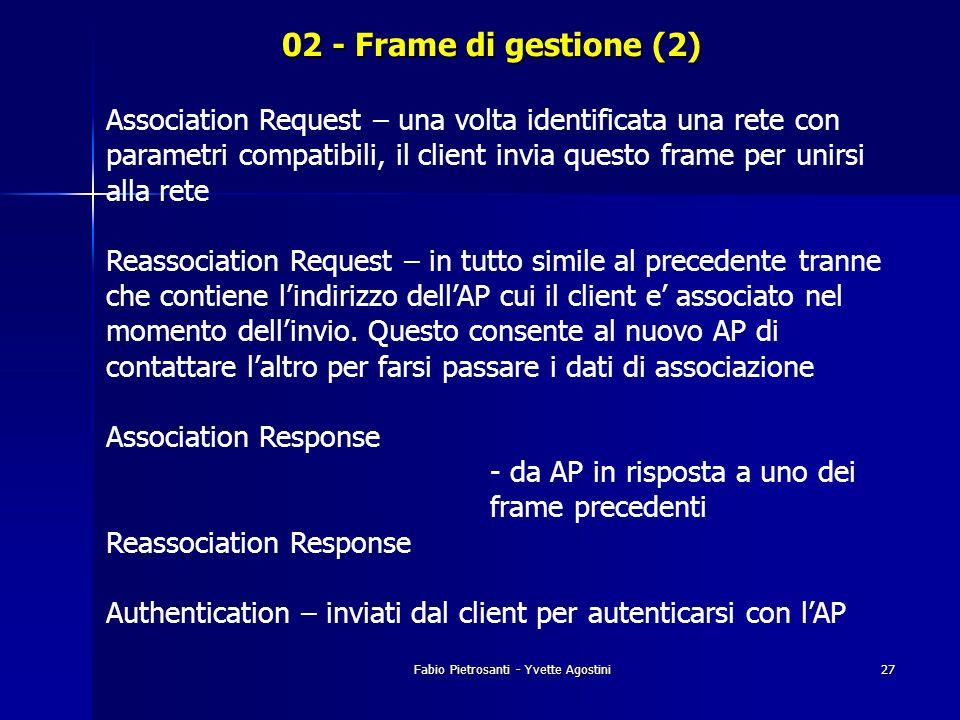 Fabio Pietrosanti - Yvette Agostini27 02 - Frame di gestione (2) Association Request – una volta identificata una rete con parametri compatibili, il c
