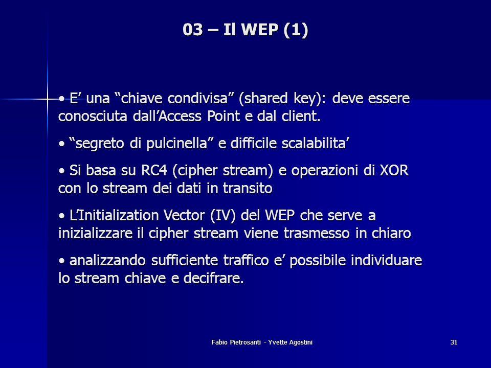 Fabio Pietrosanti - Yvette Agostini31 03 – Il WEP (1) E una chiave condivisa (shared key): deve essere conosciuta dallAccess Point e dal client. E una