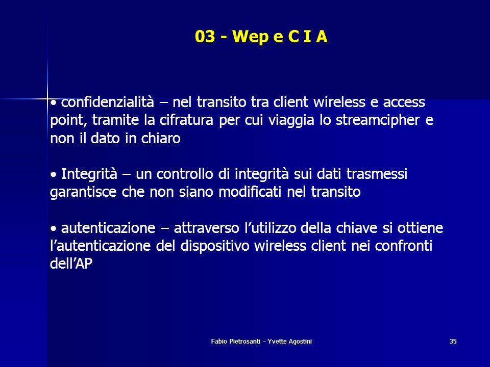 Fabio Pietrosanti - Yvette Agostini35 03 - Wep e C I A confidenzialità – nel transito tra client wireless e access point, tramite la cifratura per cui