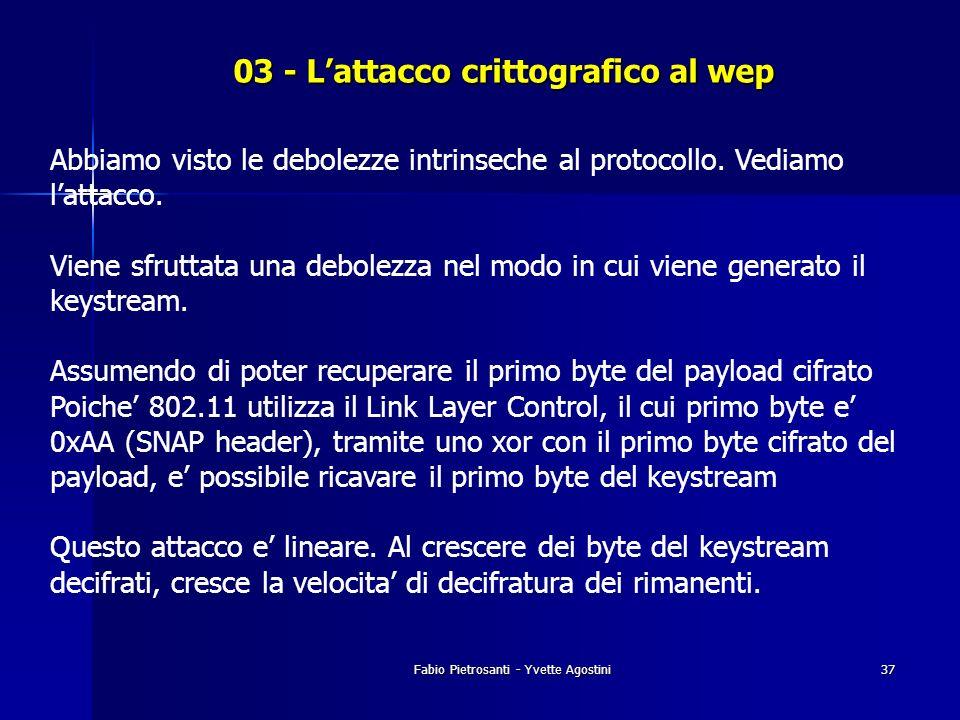 Fabio Pietrosanti - Yvette Agostini37 03 - Lattacco crittografico al wep Abbiamo visto le debolezze intrinseche al protocollo. Vediamo lattacco. Viene