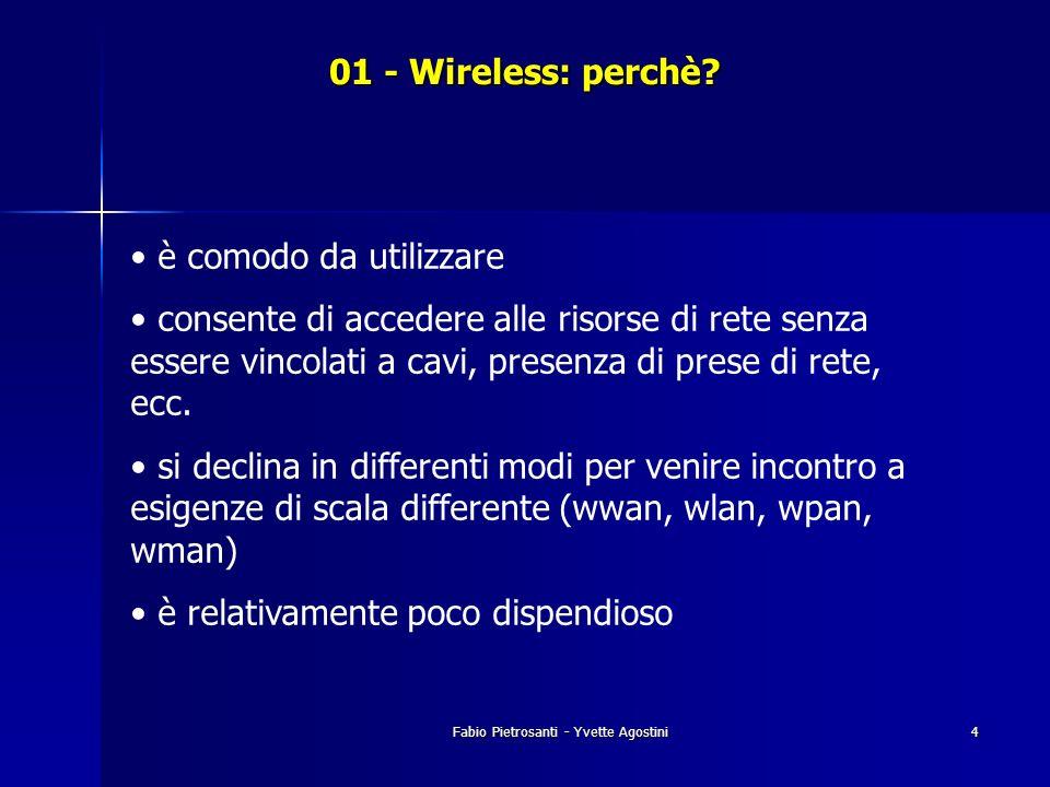 Fabio Pietrosanti - Yvette Agostini4 01 - Wireless: perchè? è comodo da utilizzare consente di accedere alle risorse di rete senza essere vincolati a