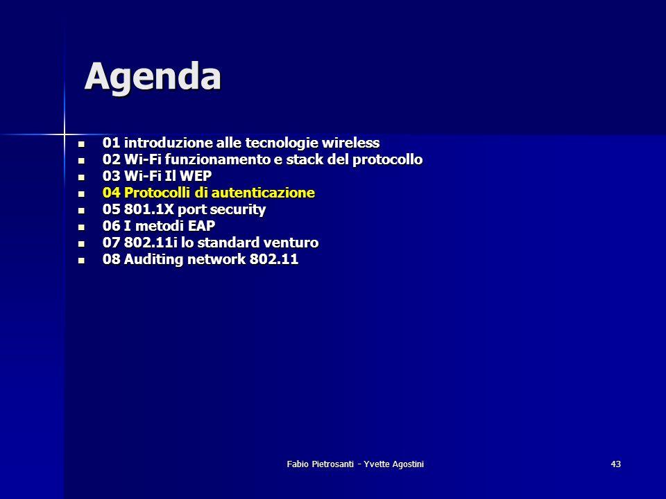 Fabio Pietrosanti - Yvette Agostini43 01 introduzione alle tecnologie wireless 01 introduzione alle tecnologie wireless 02 Wi-Fi funzionamento e stack
