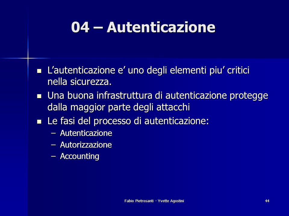 Fabio Pietrosanti - Yvette Agostini44 04 – Autenticazione Lautenticazione e uno degli elementi piu critici nella sicurezza. Lautenticazione e uno degl