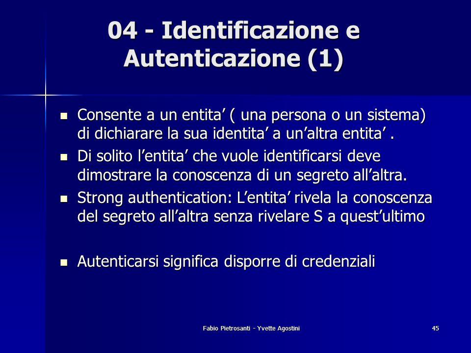 Fabio Pietrosanti - Yvette Agostini45 04 - Identificazione e Autenticazione (1) Consente a un entita ( una persona o un sistema) di dichiarare la sua