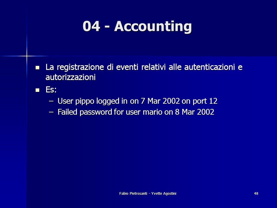 Fabio Pietrosanti - Yvette Agostini48 04 - Accounting La registrazione di eventi relativi alle autenticazioni e autorizzazioni La registrazione di eve
