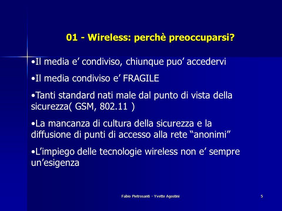Fabio Pietrosanti - Yvette Agostini5 01 - Wireless: perchè preoccuparsi? Il media e condiviso, chiunque puo accedervi Il media condiviso e FRAGILE Tan