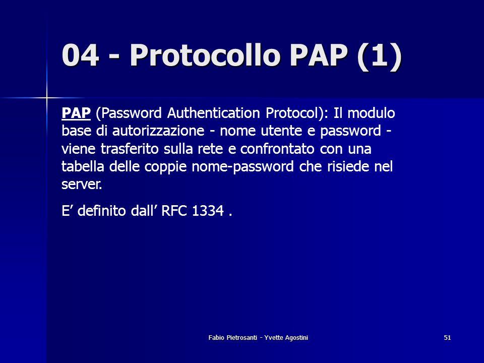 Fabio Pietrosanti - Yvette Agostini51 04 - Protocollo PAP (1) PAP (Password Authentication Protocol): Il modulo base di autorizzazione - nome utente e