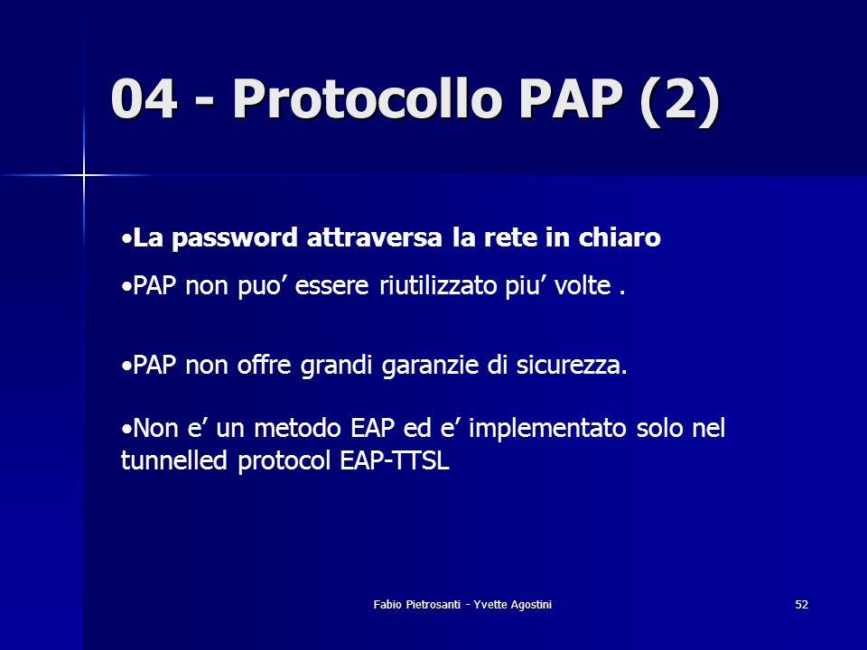 Fabio Pietrosanti - Yvette Agostini52 04 - Protocollo PAP (2) La password attraversa la rete in chiaro PAP non puo essere riutilizzato piu volte. PAP