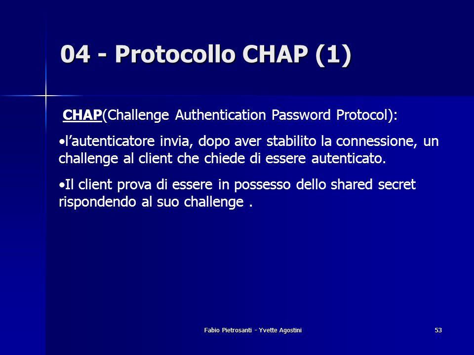 Fabio Pietrosanti - Yvette Agostini53 04 - Protocollo CHAP (1) CHAP(Challenge Authentication Password Protocol): lautenticatore invia, dopo aver stabi
